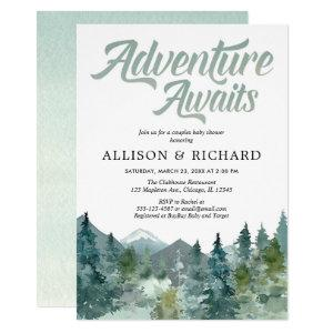Adventure awaits couples baby shower mountain invitation
