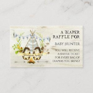 Adventure Awaits Hedgehog Teepee Diaper Raffle Enclosure Card