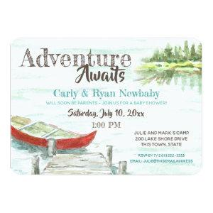 Adventure Awaits Lake and Canoe Baby Shower Invitation