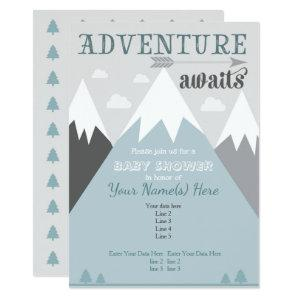 Adventure awaits Mountain Baby Shower Invitation