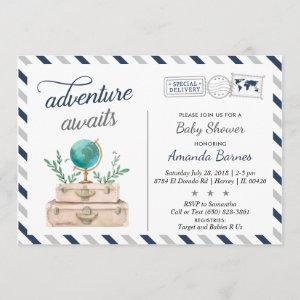 Adventure Awaits World Travel Baby Boy Shower Navy Invitation