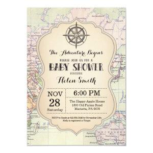 Adventure Baby Shower Invitation Map Travel World