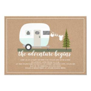 Adventure Blue Trailer Camper Woodland Baby Shower Invitation