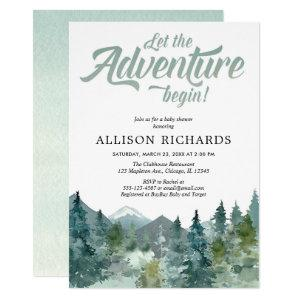Adventure boy baby shower rustic forest woods invitation