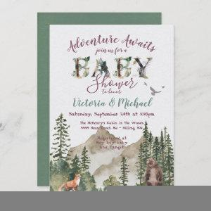 Adventure Woodland mountain forest Baby Shower Invitation