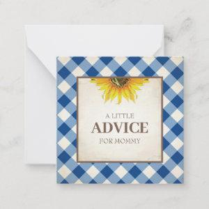 Advice For Mom Boy Baby Shower Insert Note Card