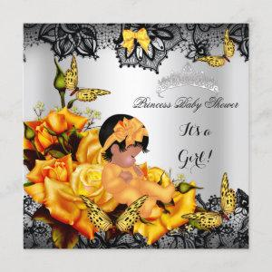 African American Baby Shower Girl Butterfly Yellow Invitation