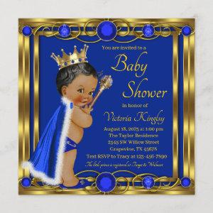African American Blue Gold Prince Baby Shower