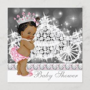 African American Ethnic Princess Girl Baby Shower Invitation