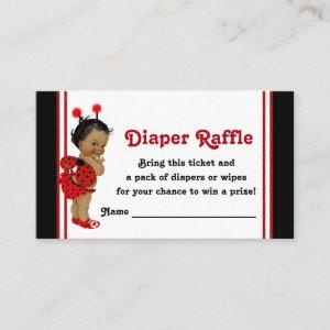 African American Ladybug Diaper Raffle Tickets Enclosure Card