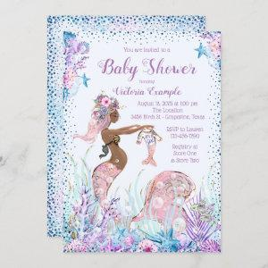 African American Mermaid Baby Shower Invitations