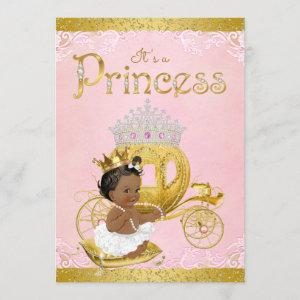 African American Pink Gold Princess Baby Shower Invitation