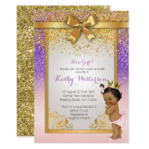 African American Pink Purple Gold Baby Shower Card