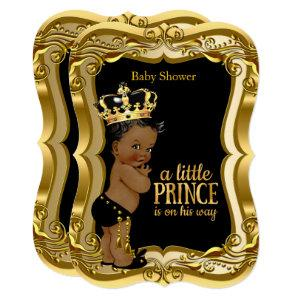 African American Prince Baby Shower Black Gold Invitation