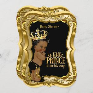 African American Prince Baby Shower Black Gold
