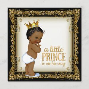 African American Prince Baby Shower Invitation