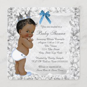 African American Prince Blue and Gray Baby Shower Invitation