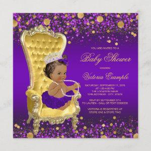 African American Princess Purple Gold Baby Shower Invitation