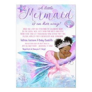Afro Mermaid Long Distance Baby Shower by Mail Invitation