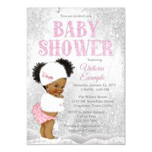 Afro Puff Girl Winter Wonderland Baby Shower Invitation