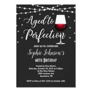 Aged to Perfection Wine Birthday Invitation
