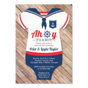 Ahoy Baby Shower Invitation, Sailor, Nautical Invitation