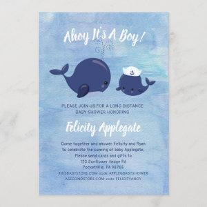 Ahoy Blue Nautical Whales By Mail Baby Shower Invitation