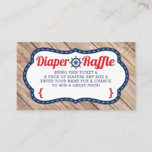 Ahoy Diaper Raffle Ticket, Nautical, Blue, Red Enclosure Card