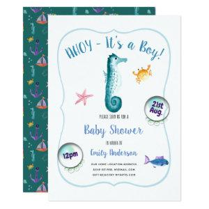 AHOY its a Baby Boy Shower Invites Ocean Seahorse