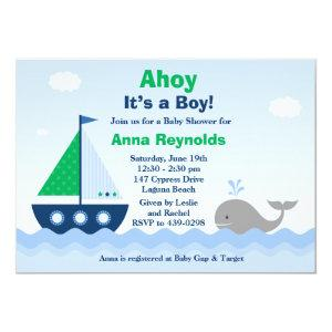 Ahoy Its a Boy Boat Baby Shower Invitation