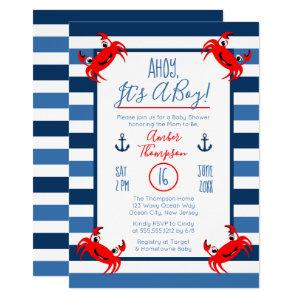Ahoy It's A Boy Crab Nautical Theme Baby Shower Invitation