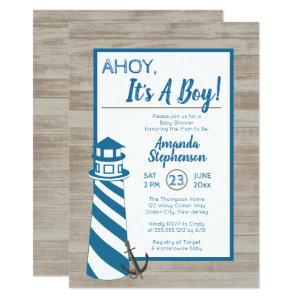 Ahoy It's A Boy Lighthouse Nautical Baby Shower Invitation
