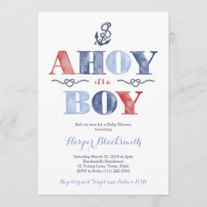 Ahoy It's A Boy, Nautical Baby Shower in Navy Red Invitation