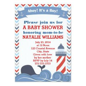 Ahoy Its a Boy Nautical Baby Shower Invitation