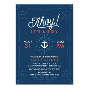 Ahoy It's A Boy | Nautical Baby Shower Invitation