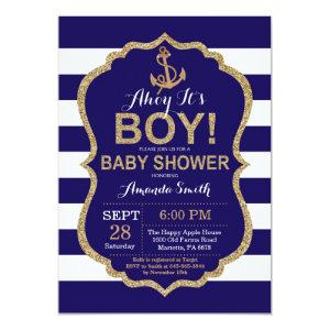 Ahoy it's a Boy! Nautical Baby Shower Invitation