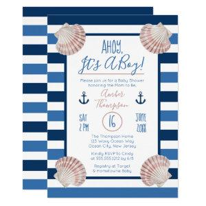 Ahoy It's A Boy Nautical Theme Baby Shower Invitation
