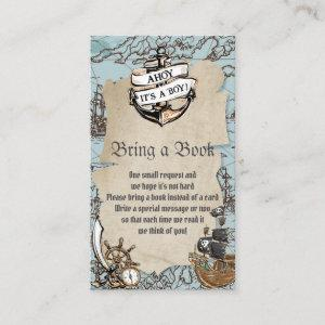 Ahoy It's a Boy Pirate Baby Shower Bring a Book Enclosure Card