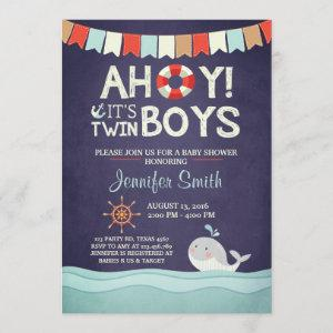 Ahoy It's Twin Boys Shower Invitate Ocean Nautical Invitation