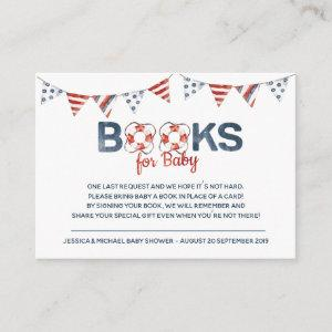 Ahoy Nautical Baby Shower Books for Baby Enclosure Card