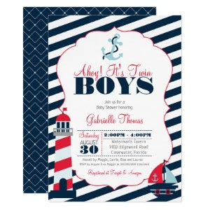 Ahoy Nautical Red Navy Stripe Twin Boy Baby Shower Invitation