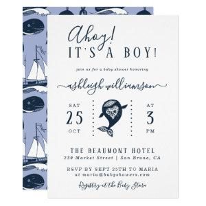 Ahoy! Nautical Whale Baby Boy Shower Invitation