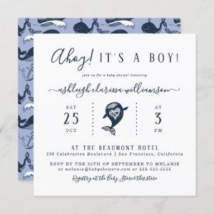 Ahoy! Nautical Whale Square Baby Shower Invitation