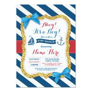 Ahoy Sailor Anchor Baby Shower Blue Boy Invite