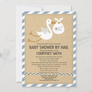 Air Mail Stork Blue Boy Baby Shower By Mail