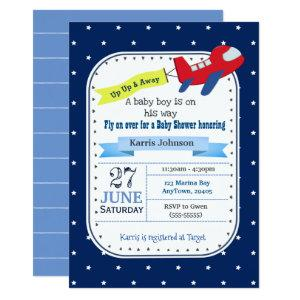 Airplane Baby Shower Invitation Red and Navy Blue
