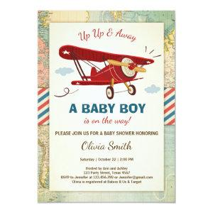 Airplane Baby Shower Invitation Travel Adventure
