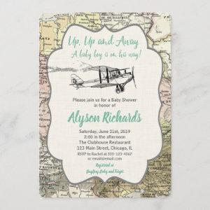Airplane baby shower invitations boy vintage map