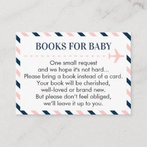 Airplane Books for Baby Request Pink Navy Boy Girl Enclosure Card