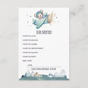 Airplane Pilot Teddy Bear Baby Message Enclosure Card